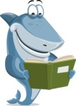 Shark Cartoon Vector Character - 112 Poses - Reading a Book