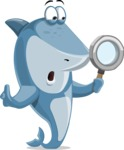 Shark Cartoon Vector Character AKA Sharko Polo - Searching with Magnifying Glass