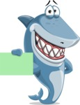 Shark Cartoon Vector Character AKA Sharko Polo - Showing a Blank Business Card