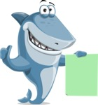 Shark Cartoon Vector Character - 112 Poses - Showing a Blank Sign