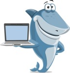 Shark Cartoon Vector Character AKA Sharko Polo - Showing a Laptop Screen
