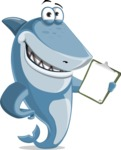 Shark Cartoon Vector Character AKA Sharko Polo - Showing a Notepad