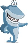 Shark Cartoon Vector Character AKA Sharko Polo - Showing and Looking at the Same Direction