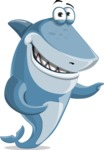 Shark Cartoon Vector Character AKA Sharko Polo - Showing with Both Hands