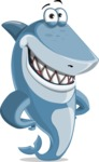 Shark Cartoon Vector Character AKA Sharko Polo - Smiling
