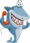 Shark Cartoon Vector Character AKA Sharko Polo - Talking on Phone