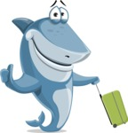 Shark Cartoon Vector Character AKA Sharko Polo - Traveling on a Summer Vacation