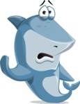 Shark Cartoon Vector Character AKA Sharko Polo - Waving for Goodbye with a Hand