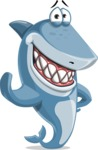 Shark Cartoon Vector Character AKA Sharko Polo - Waving for Hello with a Hand