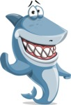 Shark Cartoon Vector Character AKA Sharko Polo - Waving with a Smile