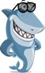 Shark Cartoon Vector Character - 112 Poses - Wearing Sunglasses