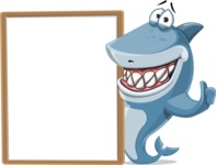 Shark Cartoon Vector Character AKA Sharko Polo - With a Blank Board