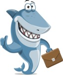 Shark Cartoon Vector Character AKA Sharko Polo - With a Business Briefcase