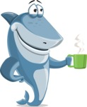 Shark Cartoon Vector Character AKA Sharko Polo - With a Coffee Mug