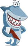 Shark Cartoon Vector Character AKA Sharko Polo - With a Notepad