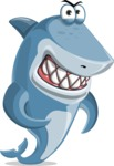Shark Cartoon Vector Character AKA Sharko Polo - With Angry Face