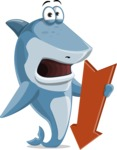 Shark Cartoon Vector Character AKA Sharko Polo - With Arrow Going Down