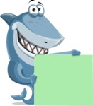Shark Cartoon Vector Character AKA Sharko Polo - With Blank Banner and Happy Face