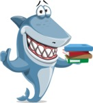 Shark Cartoon Vector Character AKA Sharko Polo - With Books