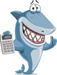 Shark Cartoon Vector Character AKA Sharko Polo - With Calculator
