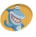 Shark Cartoon Vector Character AKA Sharko Polo - With Circle Background