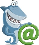 Shark Cartoon Vector Character AKA Sharko Polo - With Email Sign
