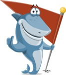 Shark Cartoon Vector Character AKA Sharko Polo - With Flag