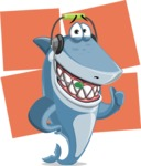 Shark Cartoon Vector Character AKA Sharko Polo - With Flat Shapes Background