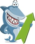 Shark Cartoon Vector Character AKA Sharko Polo - With Positive Arrow