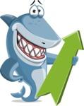 Shark Cartoon Vector Character - 112 Poses - With Positive Arrow
