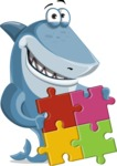 Shark Cartoon Vector Character - 112 Poses - With Puzzle