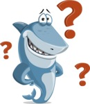 Shark Cartoon Vector Character AKA Sharko Polo - With Question Mark