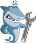 Shark Cartoon Vector Character AKA Sharko Polo - With Repairing Tools - Wrench