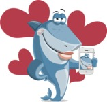 Shark Cartoon Vector Character AKA Sharko Polo - With Romantic Background