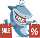 Shark Cartoon Vector Character AKA Sharko Polo - With Shopping Bags