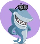 Shark Cartoon Vector Character AKA Sharko Polo - With Simple Background