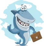 Shark Cartoon Vector Character AKA Sharko Polo - With Simple Water Background
