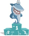 Shark Cartoon Vector Character AKA Sharko Polo - With Success on Top