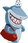 Shark Cartoon Vector Character AKA Sharko Polo - With Suitcase