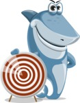 Shark Cartoon Vector Character AKA Sharko Polo - With Target