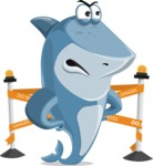 Shark Cartoon Vector Character AKA Sharko Polo - With Under Construction Sign
