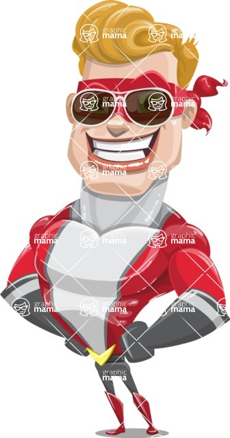 superhero vector cartoon character - Mister Magnetic - Sunglasses