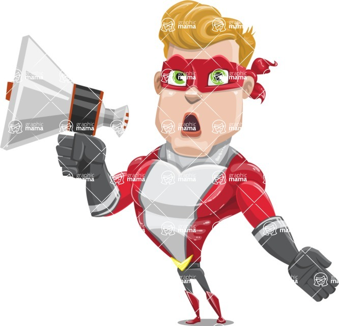superhero vector cartoon character - Mister Magnetic - Loudspeaker