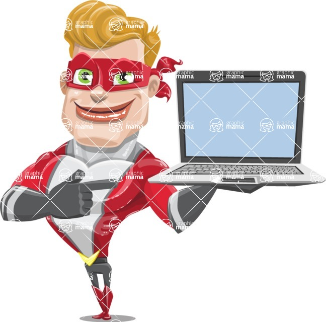 superhero vector cartoon character - Mister Magnetic - Laptop 3