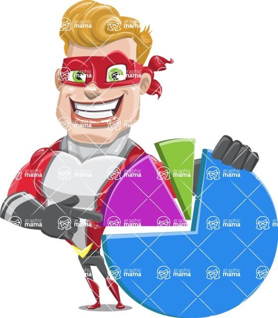 superhero vector cartoon character - Mister Magnetic - Chart