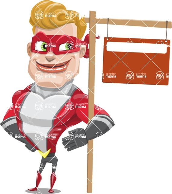 superhero vector cartoon character - Mister Magnetic - Sign 9