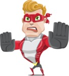 superhero vector cartoon character - Mister Magnetic - Stop