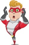 superhero vector cartoon character - Mister Magnetic - Shocked