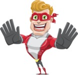 superhero vector cartoon character - Mister Magnetic - Hello