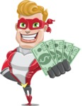 superhero vector cartoon character - Mister Magnetic - Show me the Money